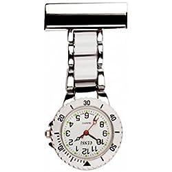 2 tone White & Silver Nurse Watch,Doctors Watch, Paramedic Watch, Fob Watch