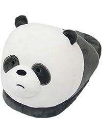 La Vogue Pantoufles d Hiver Automne Femme Adulte Forme Panda Mignon Souple  Chaussons Cartoon en Coton Chaud Chaussures de… 97c90f20de36
