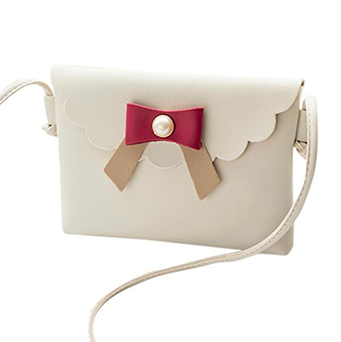 Malloom® Mode Frauen Umhängetasche Umhängetasche Messenger Münztüte Bow Farbhit Bag Handytasche (weiß) (Kosmetiktasche Handtasche Bow)