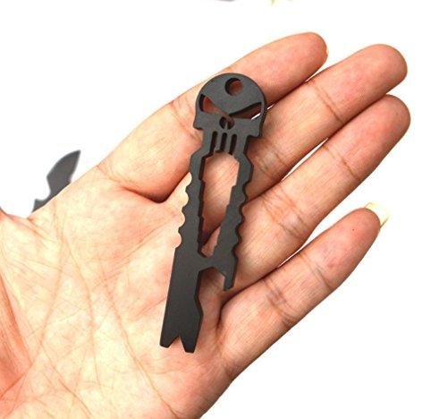 Multi-funcional de acero inoxidable Skull Keychain 3 en 1 EDC pequeñas herramientas - se puede utilizar como llave, abridor de botellas de cráneo y Crowbar