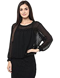 Remanika Black color Knitted Polyester Top for womens