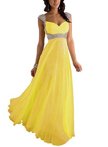 Erosebridal Formal Chiffon Lange Brautjungfernkleider Abendkleid Abendkleid Gelb