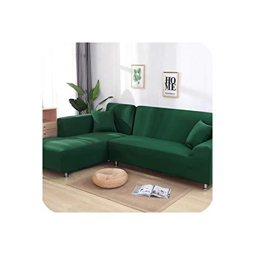 Stretch L-förmigen Sofa Abdeckung für Wohnzimmer Chaiselongue-Sofa-Abdeckung Sectional Slipcover, dunkelgrün, 2-Sitzer und 4seater - Machen Esszimmer Stuhl Hussen