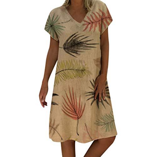 uizz-yu Robe été Femmes Style d'été col en v Manches Courtes imprimé Occasionnel Plus la Taille Dames lâche Quotidienne Confortable Robe bohème