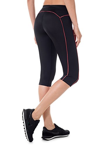 SYROKAN Women's Knee Tight Yoga Running Workout Sports Capri Leggings Pants
