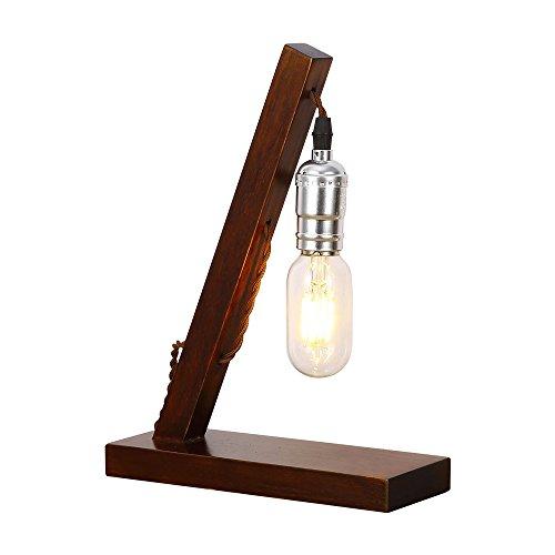 Injuicy Lighting Retro Antike E27 Edison Glühbirne Industrielampe Holz Schreibtischlampe Vintage Led Tischlampe für Arbeitszimmer Büro Schlafzimmer Wohnzimmer Bar Café Tisch Nachttischlampen