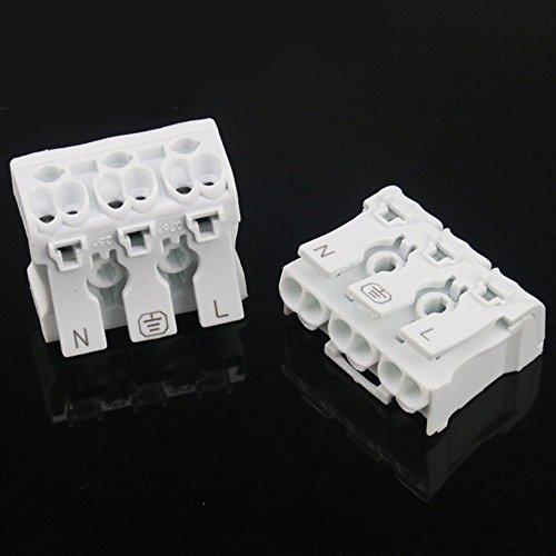 10 Stück Verbindungsklemme, Zwei oder Drei Leiter Terminal, Leuchtenklemme Steckverbinder Isolierung, Feuerwiderstand Elektrische Kabelklemme, Anschlussklemmen für Alle Leiterarten Durchmesser 0.75-2. (3 Leiter)