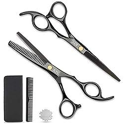 """KYG Set 2 Ciseaux Coiffure 6.0"""" Professionnels et de Coupe de Cheveux Amincissement en Acier Inoxydable Désépaissir Effiler Sculpteur + Peigne De Coiffure avec Emballage - Noir"""