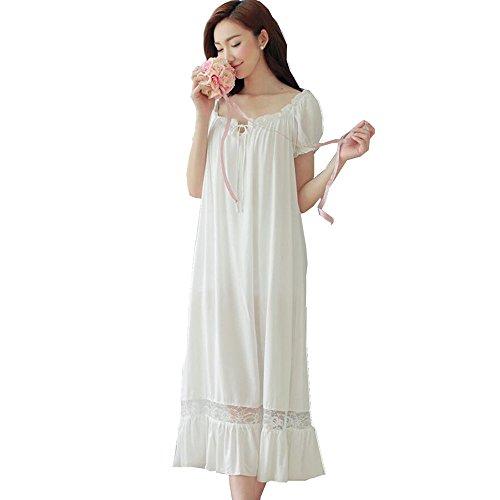 Damen Kleid Nachthemd Schlafanzüge Nachtwäsche/ Damen Nachthemd Baumwolle Negligees Kurzarm Dessous Baumwolle Reine, Weiß, L