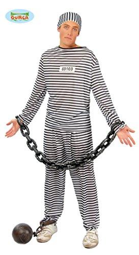 Sträfling Gefangener Kostüm für Herren Gr. M/L, (Herren Kostüme Gefangener)