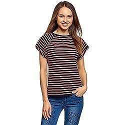 oodji Ultra Mujer Camiseta Básica de Algodón, Negro, ES 38 / S