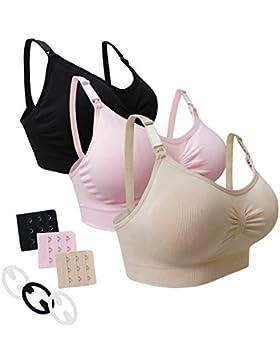 Desirelove Sujetador de Lactancia Maternidad 1 and 3 Pack Sujetadores sin Costuras con Almohadillas de prevención...