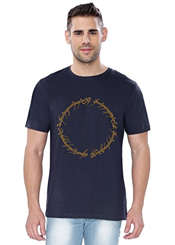 The Souled Store LOTR Ring Inscription Movies Printed Premium NAVY BLUE Cotton T-shirt for Men Women and Girls
