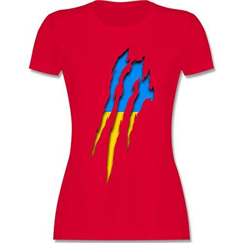 EM 2016 Frankreich Ukraine Krallenspuren tailliertes Premium TShirt mit  Rundhalsausschnitt für Damen Rot