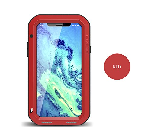 iPhone X (5.8 inch) stoßfest Fall, wasserdicht Fall, Metall Fall, Love Mei Armor Tank stoßfest staubdicht Heavy Duty Aluminium Metall Case Hard Cover für iPhone X mit Tempered Glas (Gelb) Rot