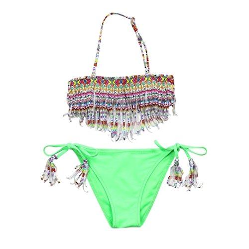 Coolster 2PC Kinder Mädchen Sommer Bikini Set Quaste Tops & Slips Bademode (Alter:11-12Jahr, Grün 2018)