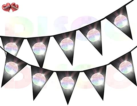 Disco Ball Rainbow Flash on Black background I Love 70's 80's 90's Theme Bunting Banner 15 Flags For Guaranteed Stylish Amazing party decoration by PARTY DECOR