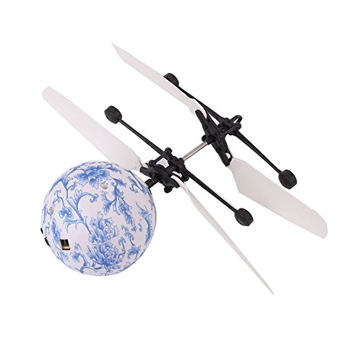 Bolange Kristallkugel-Induktionsflugzeug-Hubschrauber USB der lustige Fliegende Kugel LED Partei-Dekoration Kinderspielwaren - Blaue und weiße Porzellankristallkugel auflädt (Dekorationen Blaue Kugeln)