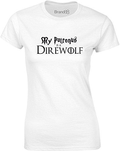 My Patronus is a Direwolf, Gedruckt Frauen T-Shirt - Weiß/Schwarz L = 87-91cm