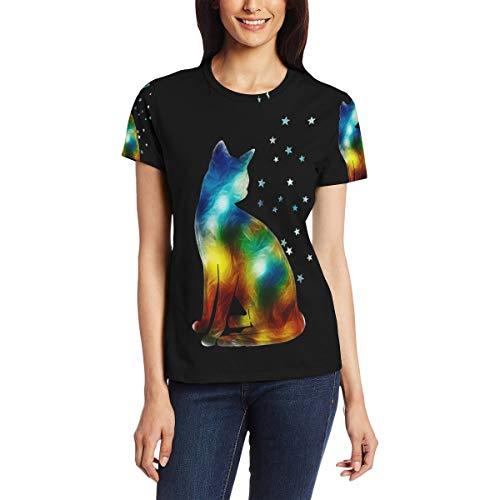 T-Shirt für Frauenmädchen Mysterious Space Colorful Cat Star Benutzerdefinierte Kurzarm (Movie Star Mädchen Kleid)