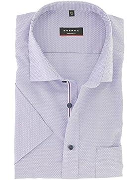 ETERNA Herren Kurzarm Hemd aus 100% Baumwolle Modern Fit mit Kent Kragen leicht tailliert geschnitten Gr. 46 Flieder...