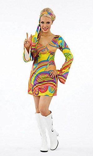 Damen 1970er 70er Jahre Psychedelic Bell Sleeve Fancy Kleid Kostüm–alle Größen