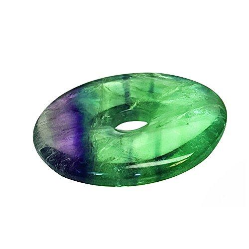 Mysale24 Fluorit | Donut | Anhänger mit Lederband | Regenbogenfluorit | Edel- und Heilstein | aus China