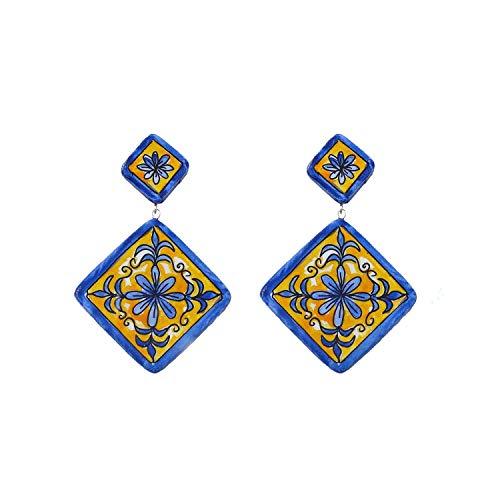 Orecchini in ceramica dipinti a mano - MAIOLICA ROMBO DI VIETRI - Orecchini pendenti da donna, Gioielli in ceramica dipinta, Gancio in argento, Made in Italy, Bijoux, Lavorazione Artigianale