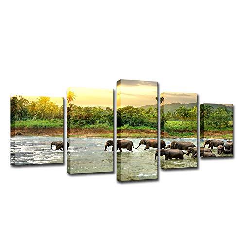 5 Panel De Elefantes Del Grupo Lienzo Natural De La Pared De...