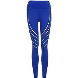 Femmes Taille Yoga Fitness Leggings en Cours d'exécution Gym Extensible Sport Pantalons Pantalon Slim Jeans Combinaisons Short Collants Knickerbockers (S,Bleu)