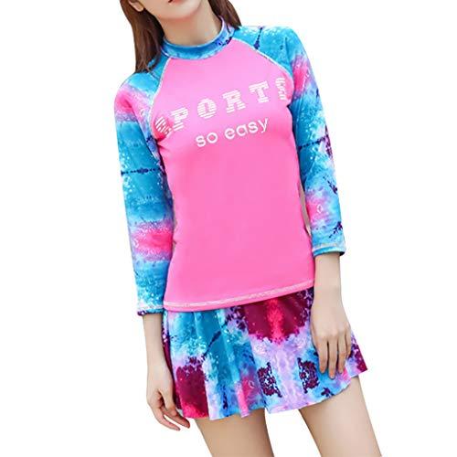 Chshe®-Surfing Wetsuit Damen, Damen Ärmel Uv-Sonnenschutz Upf 50+ Rash Guard Top 2-Teiliges Badeanzug-Set, Damen Übergroße Sport-Surf-Bekleidung (Pink)