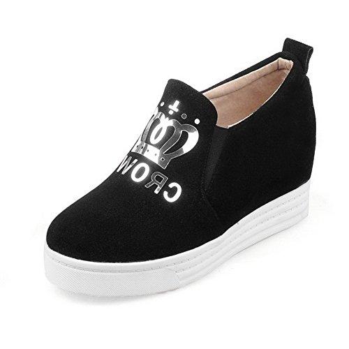 VogueZone009 Femme Couleur Unie Suédé à Talon Haut Rond Tire Chaussures Légeres Noir