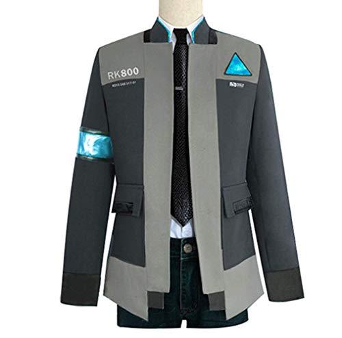 qingning Herren Detroit Become Cosplay Spiel Kostüme Uniform Mantel Hemd Krawatte Connor Marcus Spiel Bekleidung