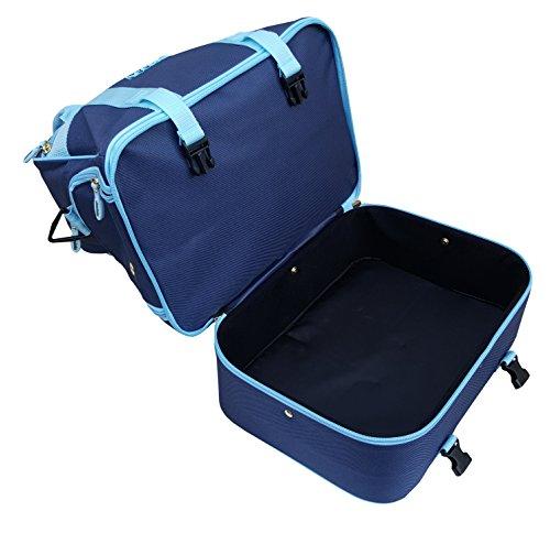 Farne-Nylon Vier Schüssel Level Rasen flach grün kurz Matte Schalen Tasche Navy Blue/Sky Blue