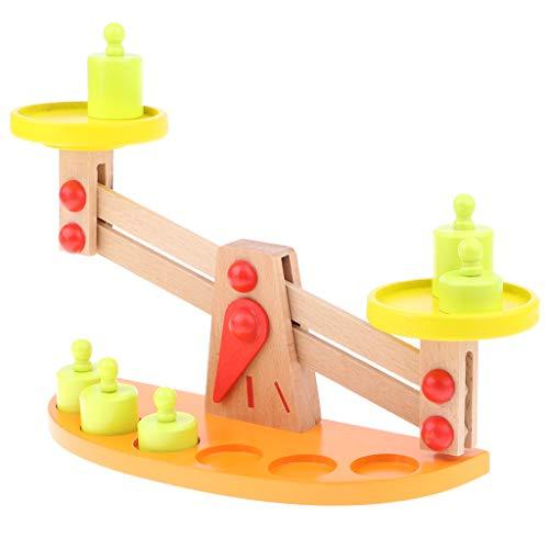 Homyl 6 Unidades Balanza con Pesos de Madera Juego de Equilibrio para Niños