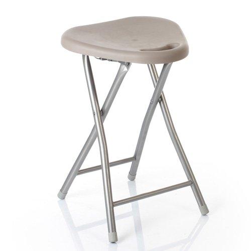 Basic - Sgabello pieghevole in acciaio e MDF, colore: grigio talpa