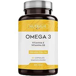 Omega 3 | Aceite de Pescado Premium | 900 mg EPA y 350 mg DHA por Dosis | Altamente Concentrado con Vitaminas E y D3 | 60 Cápsulas | Nutralie