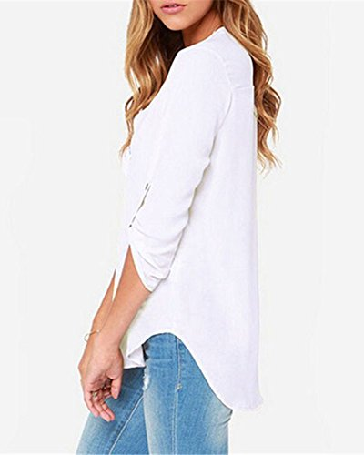 LaoZan Damen Beiläufige Chiffon Damen Mit V-Ausschnitt Mit Bündchen Bluse Tops Elegantes Shirt Weiß