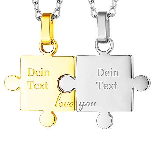 Lunapolaris® Partnerketten Zwei Puzzle - Anhänger in Gold und Silber ┃ Edelstahl - Schmuck ┃ Pärchenschmuck ┃Freundschaftsketten┃ Gratis Text Gravur