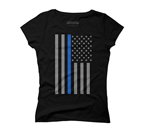 Thin Blue Line US Flag Women's Graphic T-Shirt - Design By Humans Black