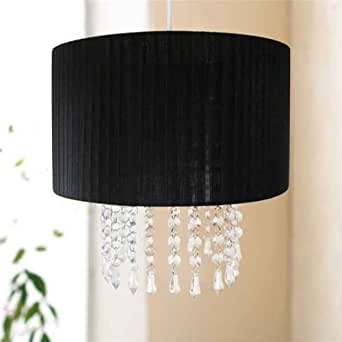 Urbanlife Easy Fit Pendant Black Lampshade with Hanging Crystals 30cm