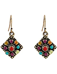 d252865e5f49 TULIP LY Antique Gold Plated Colorful Crystal Hook Dangle Earrings Bohemian  Retro Square Rhinestone Drop Earrings