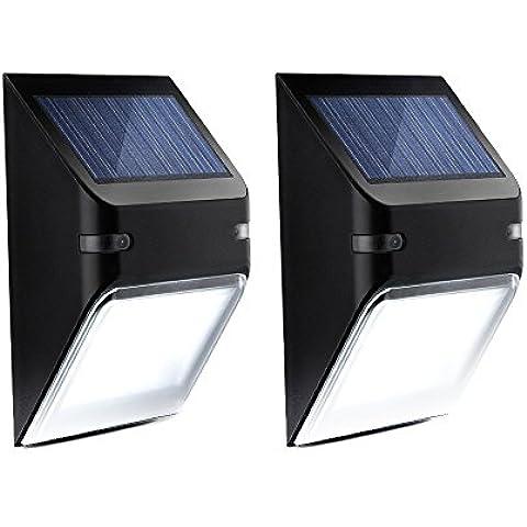 Mpow Lámpara Solar de Pared, 5 LED Luces con Sensor de Movimiento, Iluminación de Seguridad para Exerior Casa Jartín Secalera, Encendido / Apagado Automaticamaente, 2 Unidad,Color Negro
