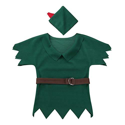 iixpin Kinder Elf Costume Fancy Dress Halloween Fasching Kostüm Jungen Verkleidung Dunkel Grün 86-92