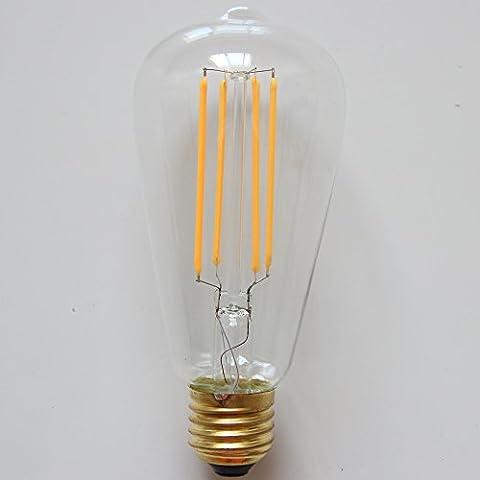 ALK 4W ST64Glühlampe E27Schraube Classic dimmbar LED Filament Glühbirne warm weiß 2700K GLS ES LED Vintage Edison-Glühbirne 40W Glühlampe Ersatz