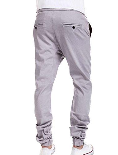 sourcingmap® Taille élastique avec cordon hommes Mock Fly Harem pantalon gray