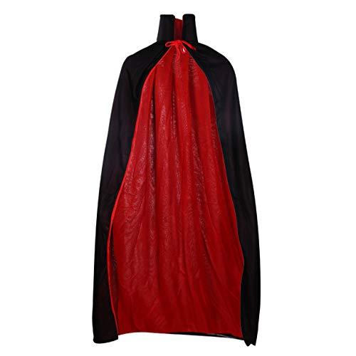 JiXUN lobenswerter Gothic-Kapuzen-Umhang mit Flecken-Umhang für Damen und Herren, Halloween-Kostüm, Hexe, Vampir, Kostüm, für Zuhause, Dekoration Double Black and Red Cloak 120cm (Black Rose Hexe Kostüm)