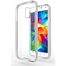 Funda Galaxy S5 Neo - Azorm Hybrid Edition Plata - Bumper con Efecto Metálico, Transparente, Resistente a los arañazos en su parte trasera, Amortigua los golpes - funda protectora de silicona anti-golpes para Samsung Galaxy S5 Neo New