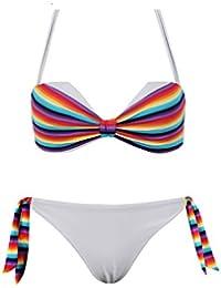 Maillot de Bain Femme 2 Pièces Bikini Bandeau Arc en Ciel - Petit Bonnet (voir descriptif)