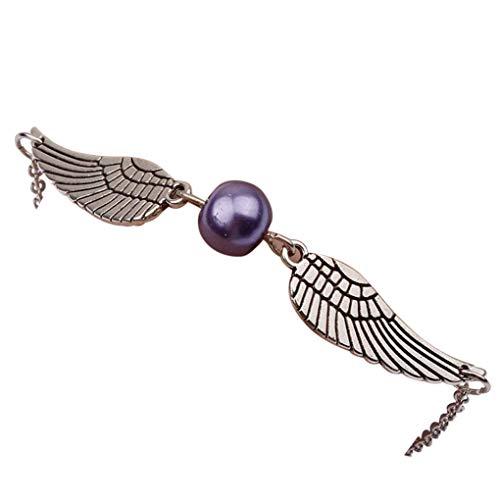 Dorical Armband/Damen Mädchen Armband Silber Retro Bracelet mit Perle und Flügel/Party Hochzeits Schmuck Accessories(Lila)